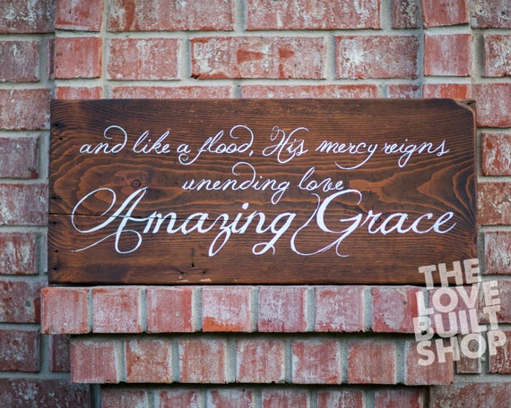 Home decor rustic christian amazing grace song wood sign for Christian decorations for home