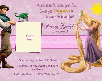 Rapunzel Invitation. Rapunzel Birthday Invitation. Rapunzel Tangled Invitation. Digital (you print)
