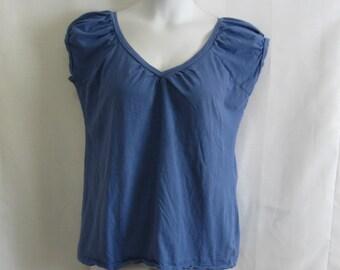 "Vintage Misses XL Organic Cotton Top T-shirt Knit Shirt - Blue Puff Sleeve Top - BUST 44"" LENGTH 26"" - Blue Knit Top Misses XLarge"