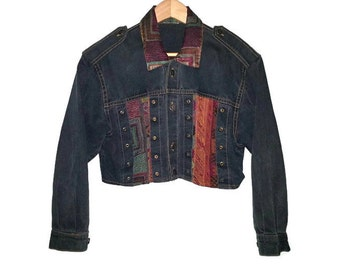 Vintage Jean Jacket Cropped Button up Denim Coat Boho Bohemian Hippie Size Extra Small / Small