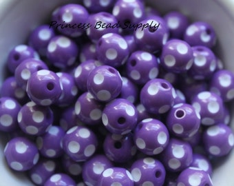12mm Purple Polka Dot Beads Set of 10 or 20,  Chunky Bubble Gum Beads, Gumball Beads, Acrylic Beads