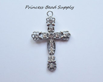 Cross Rhinestone Pendant for Chunky Necklaces,  58mm x 38mm Cross Pendant, Chunky Necklace Pendant, Cross Cabochon