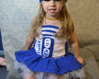 Crochet Star Wars R2D2 Dress and Beanie