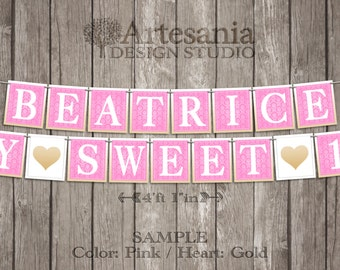 MY SWEET 16 Banner - Personalized Garland Sign - Any Color - Damask