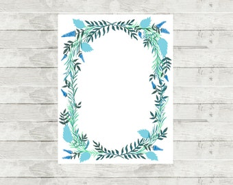 """Floral Wreath Notepad   8.5 x 11"""""""