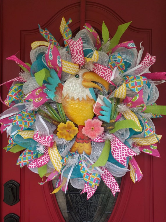 Summer wreath with parrot colorful outdoor by for Colorful summer wreaths