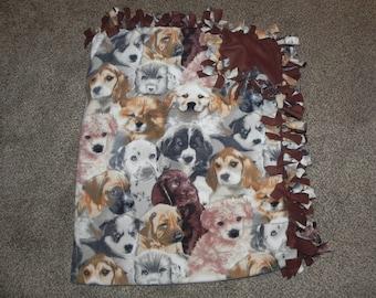 "Hand Made No Sew Fleece Puppies 61"" x 73"""