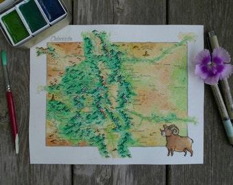 Fantasy map of Colorado