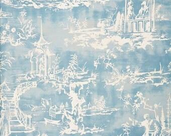 SCALAMANDRE CHINOISERIE PAGODA Pagoda Toile Linen Fabric 10 Yards Sky