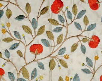 LEE JOFA KRAVET Floral Embroidered Silk Fabric 10 Yards Persimmons Green Cream