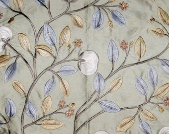 LEE JOFA KRAVET Floral Embroidered Silk Fabric 10 Yards Aqua Blue Oyster Slate