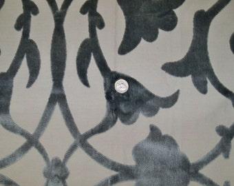 KRAVET COUTURE Lee Jofa SCROLLWORKS Trellis Cut Velvet Fabric 10 Yards Slate Blue Taupe