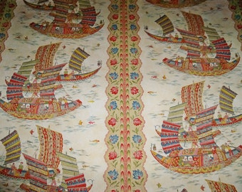 BRUNSCHWIG & FILS FORTUNATE Harbor Sailing Ships Toile Fabric 10 Yards Blue Red Cream