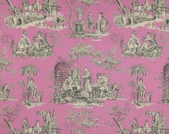MANUEL CANOVAS BALLEROY French Toile Fabric 10 Yards Rose