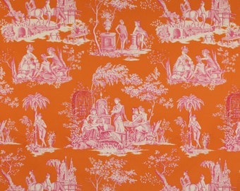 MANUEL CANOVAS BALLEROY French Toile Fabric 10 Yards Berlingot Tangerine