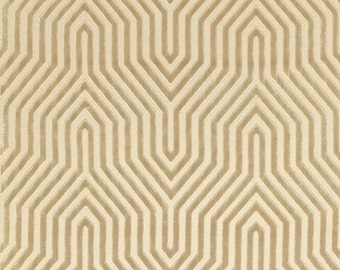 SCHUMACHER VANDERBILT RETRO Deco Cut Velvet Fabric 10 Yards Greige Beige
