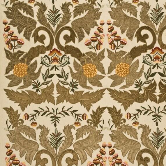 Lee jofa kravet embroidered leaves foilage applique linen