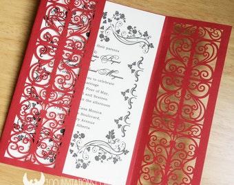 100 sets Wedding Invitations,Red Wedding Invitations,Red Laser Cut Wedding Invitations,Classic Red Gate Fold Laser Cut Wedding Invitations