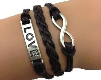 Bracelet love infinity brown.  TMPL_SKU007187