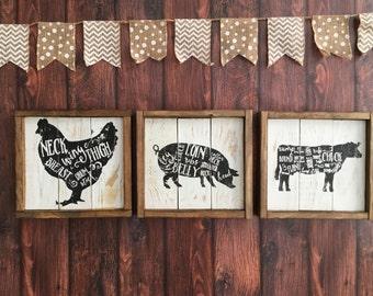 Farmhouse Sign - Country Decor - Farmhouse Pig Sign - Farmhouse Kitchen Sign - Rustic Decor - Rustic Sign - Framed Sign - Cuts