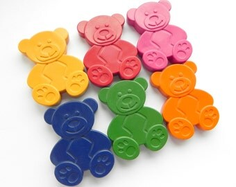 Teddy Bear Crayons | Set of 6 | Unique gift for children | Teddy Bears Picnic | Wedding Favours for kids | Birthday Gift | Party Bag Filler