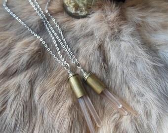 Pale Crystal Bullet Pendants - N24