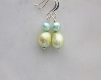 Silver freshwater pearl earrings