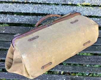 Antique Doctors French Brown Canvas Gladstone Bag/Tool Case-Shabby Lovely Display or Prop/wartime re-enectment