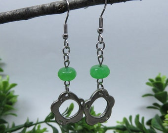Tin and green natural stone earrings.