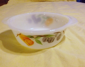 Vintage Fire King Fruit Pattern Bowl