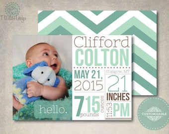 Printable Chevron Baby Announcement- Customized with Your Picture