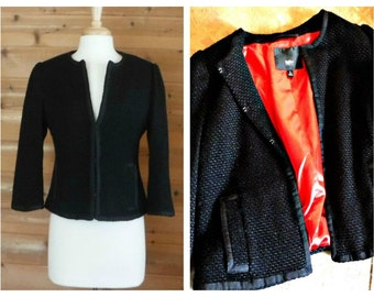 Women's black coat, black jacket, wool coat, wool jacket, cropped jacket, textured coat, short coat, cropped overcoat, vintage jacket | L