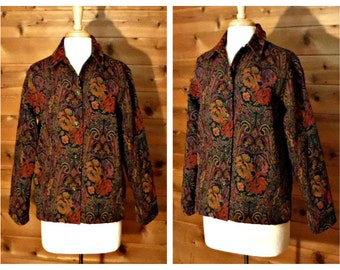 Vintage Tapestry Jacket, Floral Jacket, Womens Paisley Jacket