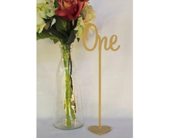 Free standing set of 10 wedding wooden table numbers with base/sticks