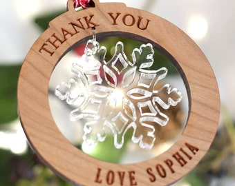 Personalised Thank You Tree Decorations Snowflake Bauble Gift