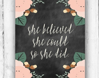 She Believed She Could So She Did, Chalkboard, Vintage Inspired, Wall Print