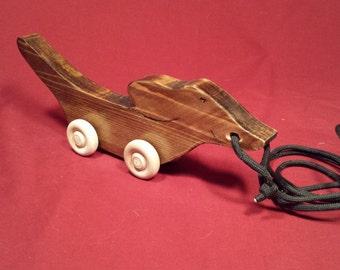 wooden pull toy wiener dog toy
