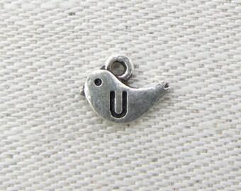 "Silver Bird Letter ""U"" Charm, 1 or 5 letters per package  ALF002u"