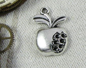 Pomegranate Charm, Pomegranate, Pomegranate Pendant, Pomegranate Jewelry, Fruit Charm, Silver Pomegranate, 1 or 12 Charms, FOD020