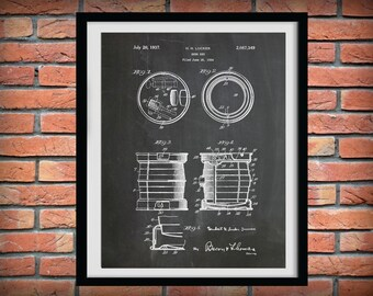 Patent 1934 Beer Keg - Beer Barrel - Art Print Poster - Wall Art - Craft Beer Art - Sports Bar  Art - Winery Wall Art -