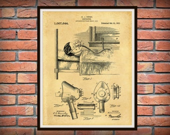 Patent 1911 Respirator - Art Print - Poster - Medical Ventilator System -  Doctors Office - Surgery - Hospital Wall Art