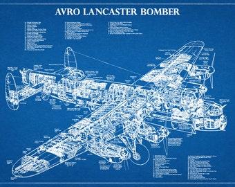 Avro Lancaster British Bomber Plane - Night Bomber Airplane - Art Print - Poster - Wall Art - War II Plane Wall Art