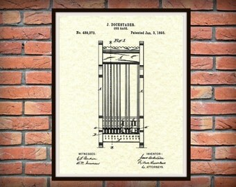 Patent 1893 Pool Cue Rack - Art Print - Poster - Wall Art- Billiard Cue Rack - Pool Hall Art - Billiard Hall Art - Sports Bar Art
