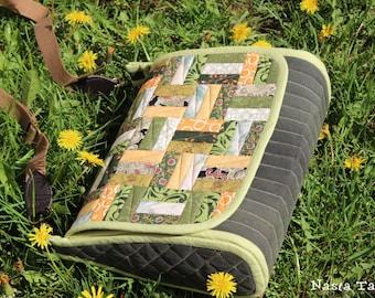 Patchwork quilted messenger bag