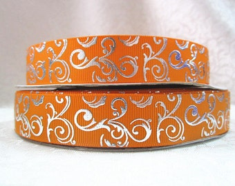 7/8 inch Silver Foil Vines Swirls on Orange Printed Grosgrain Ribbon for Hair Bow