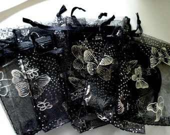 35 Black Butterfly Organza Bags, Sachets, Jewelry Making
