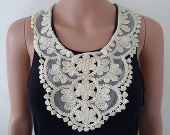 Venice lace Collar Appliques,Floral Emboridered Collar,For Dress(129-64)