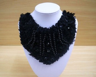 Beaded Black lace Collar Appliques,Pearl Collar For DIY Dress,1 piece(129-66)