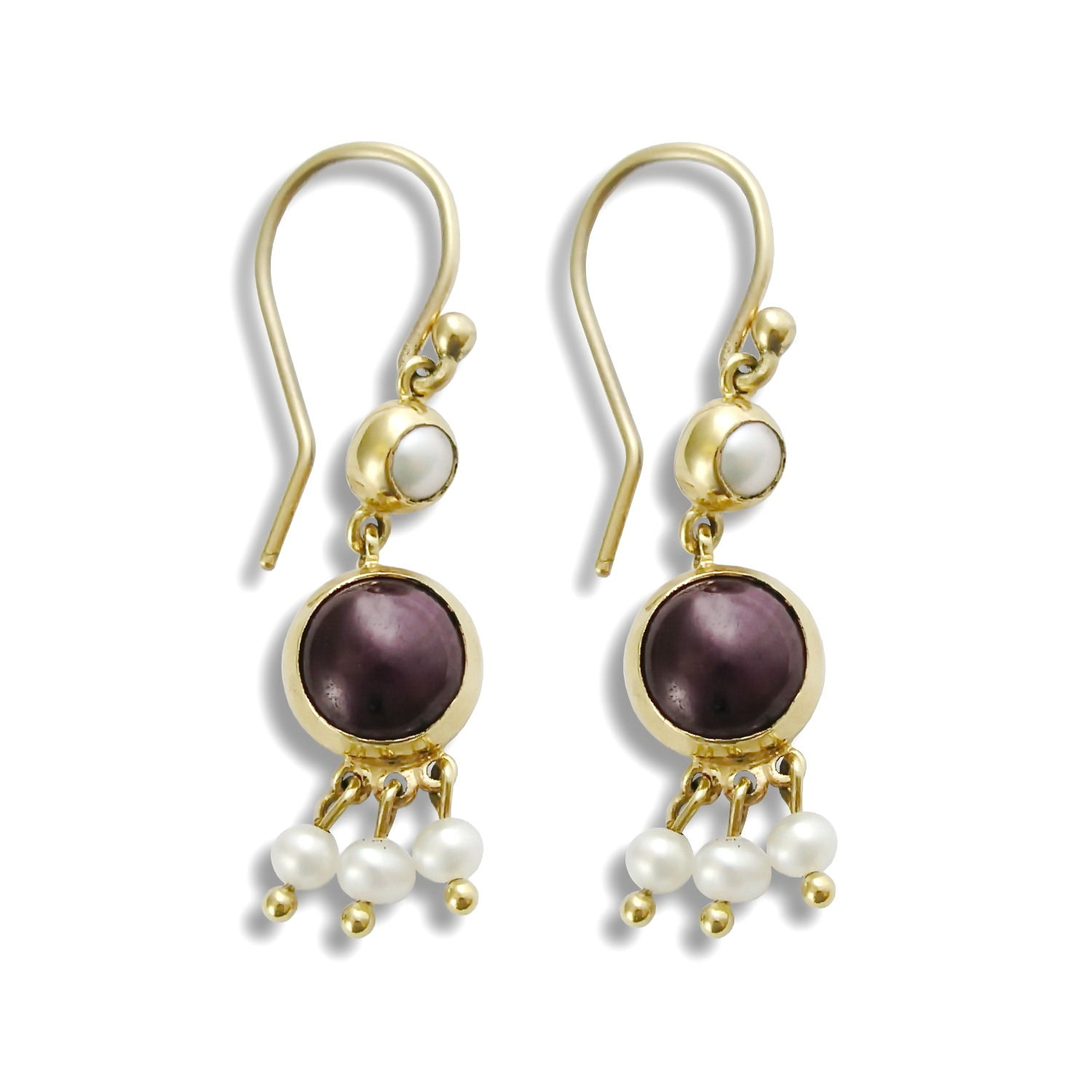 ruby gold dangle earrings small ruby and pearl earrings