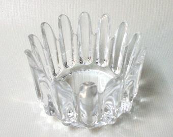 Orrefors Princess Crown bowl, crystal glass. Signed and numbered Sven Palmqvist, 60s/70s vintage. Scandinavian art glass candle holder